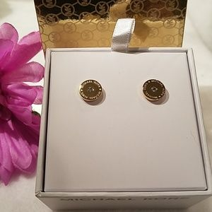 Michael Kors goldtone logo earrings
